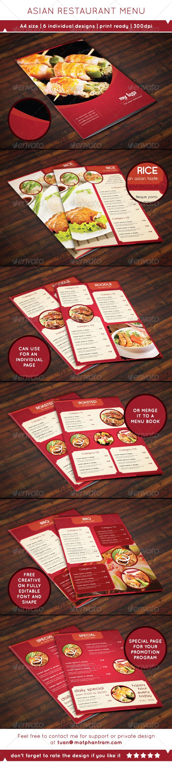 A4 Asian Style Food Menu