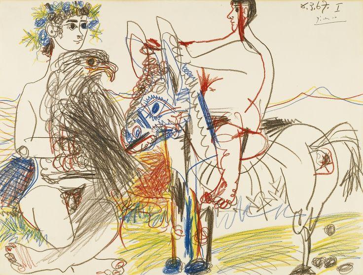 blastedheath:  Pablo Picasso (Spanish, 1881-1973), Adolescents, aigle et âne [Adolescents, eagle and donkey], 6th March 1967. Coloured crayo...