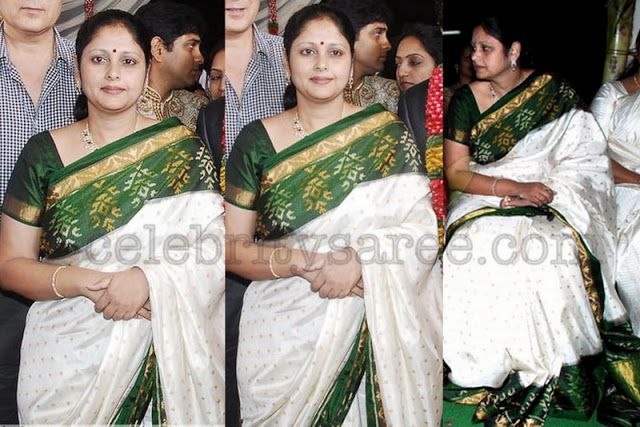 Jayasudha in Wjite Pochampally Saree | Saree Blouse Patterns