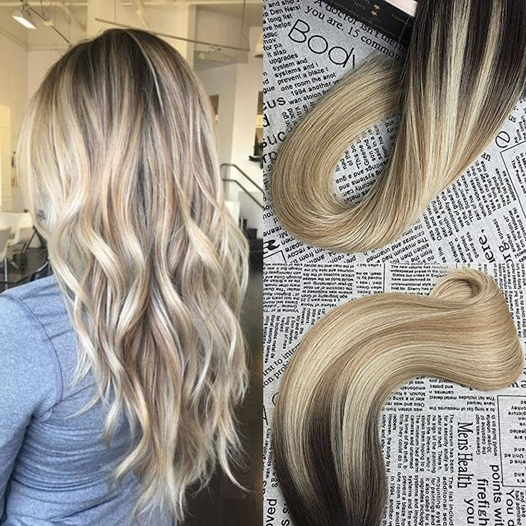 Moresoo 20 Inch Remy Tape in Hair Extensions Human Hair Balayage Color Dark Brown #2 Fading to Blonde #27 Mixed #613 Unprocessd Human Hair Extensions Seamless Tape in Hair 40pcs/100g Full Head Set