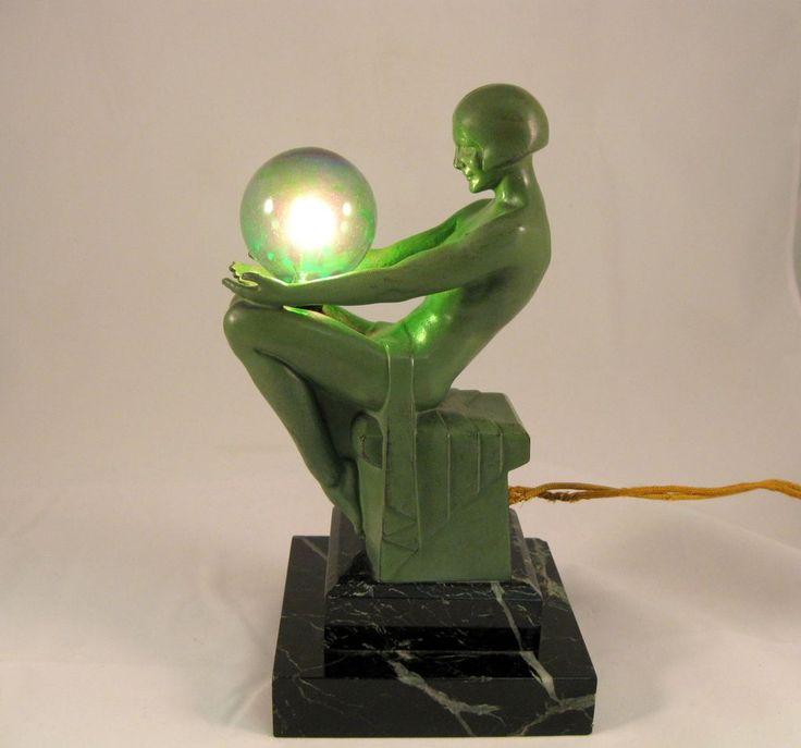 "Dark Verdigris Green Ornate Pedestal Light: Original Small Max Le Verrier Lamp ""Enigme."" 9"" High, Of A"