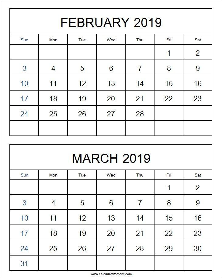 February March 2019 Calendar Template February 2019 Calendar