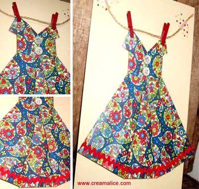 ¨°o.O Carte Robe Origami Fête des Mères / DIY Origami Dress Card O.o°¨   www.creamalice.com