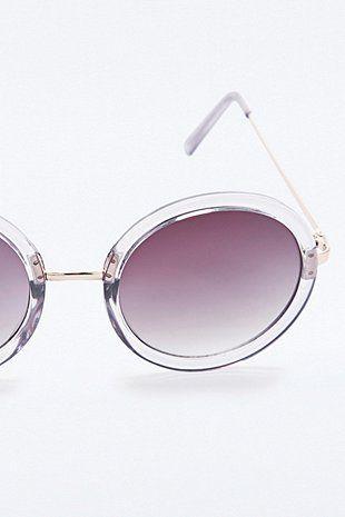 Urban Outfitters Rund Yoko Durchsichtig Blau Sonnenbrille UV400 Damen Retro BNgva7H51G