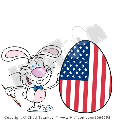 Royalty Free Clipart Illustration Of A White Happy Easter Bunny Painting An American Egg On Background Clip By Hit Toon