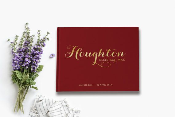 Maroon and Gold Wedding Guest Book Maroon by PaperBoundLove