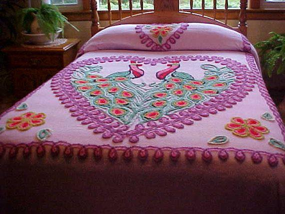 PEACOCK~Vintage chenille peacock bedspread.