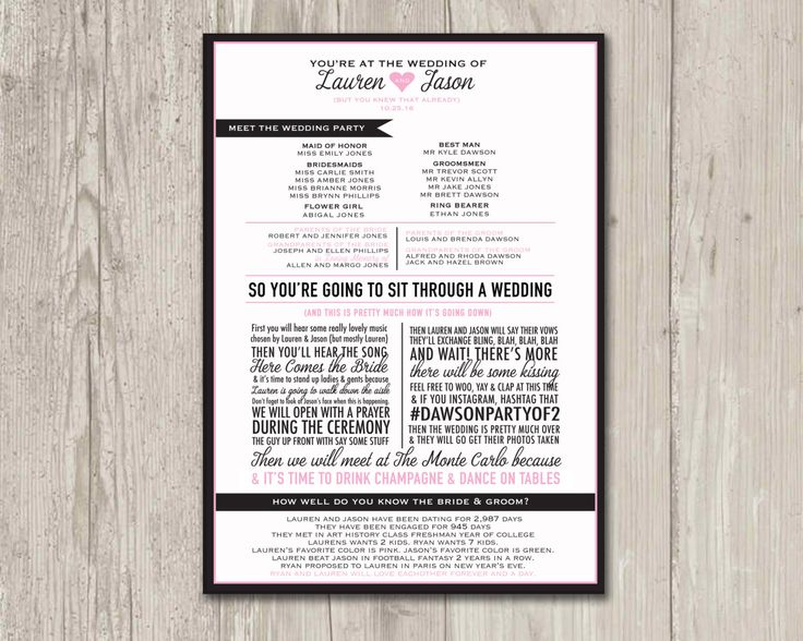 Wedding Program Funny So By ThePaperVioletShoppe