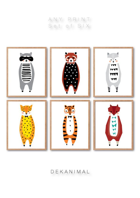 Nursery room decor Raccoon Woodland Nursery Tiger Leopard