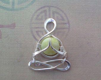 "Little Yogi, ""Namaste""in Silver, Jade, yoga,  people, meditation, Lotus, Gasho, Namaskar, mudra, zen, heart chakra, lemurian diamond"