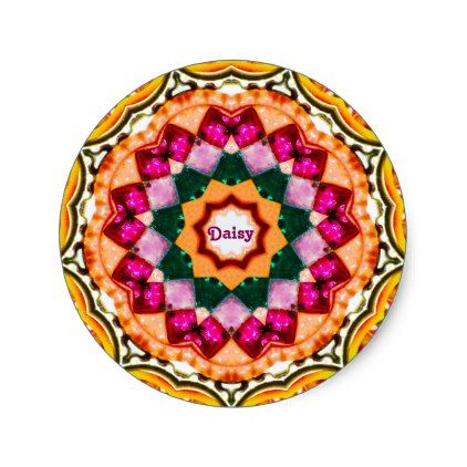 DAISY  Personalised Gem Fractal Pattern  Classic Round Sticker - flowers floral flower design unique style