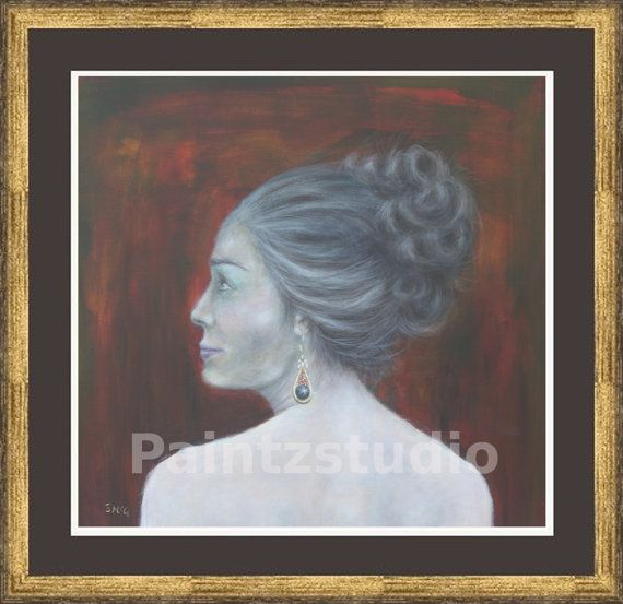 Woman painting print water colour grey hair woman by Paintzstudio
