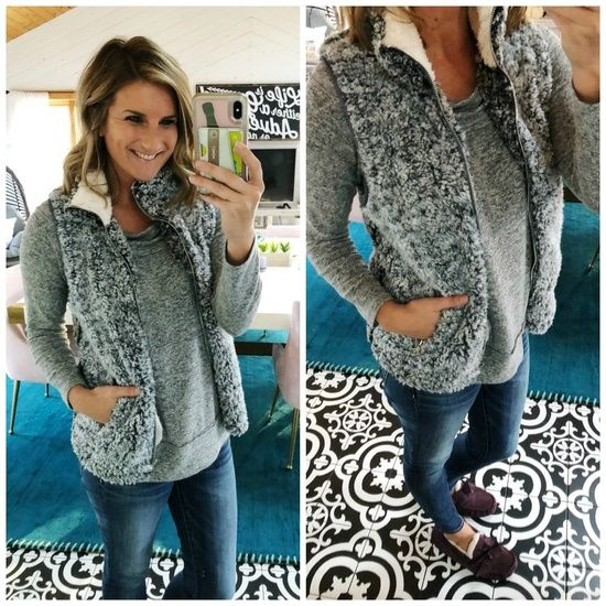c1e322930d2bf7 Lounge Wear    Casual Outfit    Sherpa Vest    Off the Shoulder Top with  High Waisted Jegging and Vest    What to Wear with a Sherpa Vest    Ugg  Slippers ...