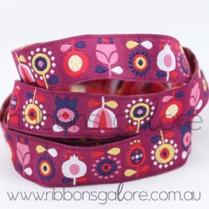 scandinavian flowers ribbon   fuchsia (16mm wide) [per metre] - $3.90 : Ribbons Galore, your online store for the best ribbons #ribbonsgalore #ribbons