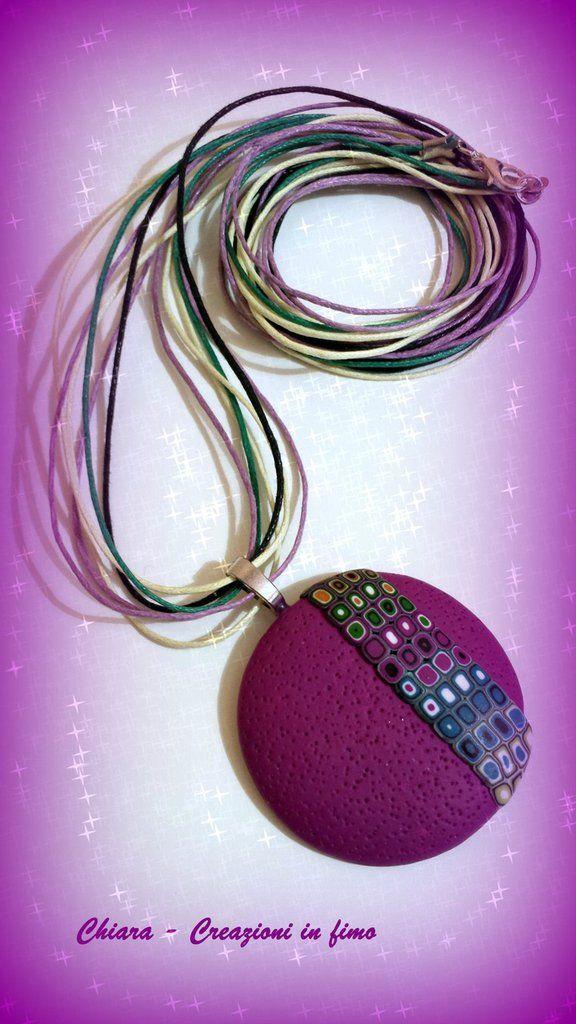 Collana con ciondolo in #fimo handmade bordeaux multicolore idee regalo donna, by Chiara - Creazioni in fimo, 15,00 € su misshobby.com