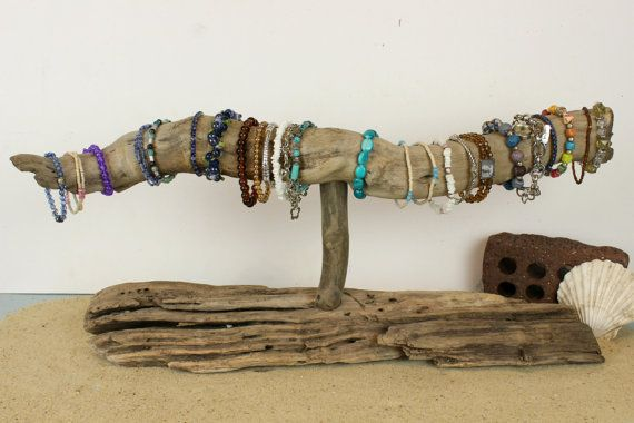 Driftwood Jewelry Holder Bracelet Display by StrollinTheBeach