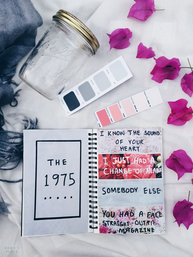 Art journal entry about The 1975   // tumblr instagram Art aesthetics idea inspiration, white flatlay, matty healy, creative teen diy craft //
