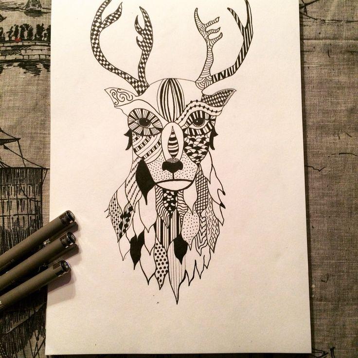 Deer zentangle