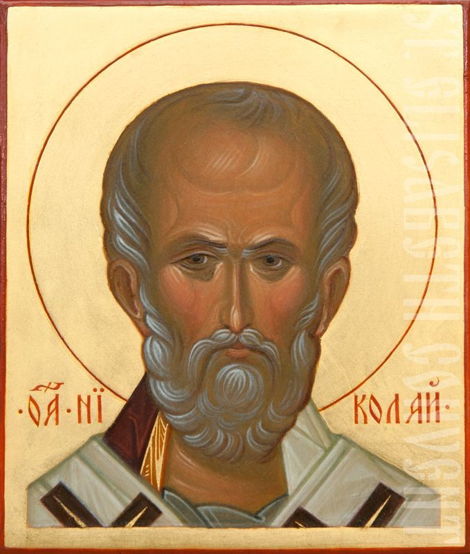 shoulder long icon of st nicholas the wonderworker on gold background