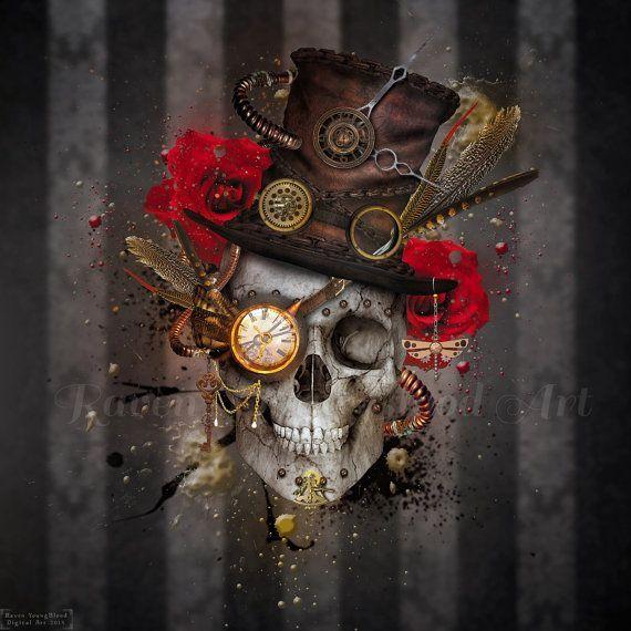 Skull Boy - Steam punk inspired mixed media digital art print/photomanipulation.