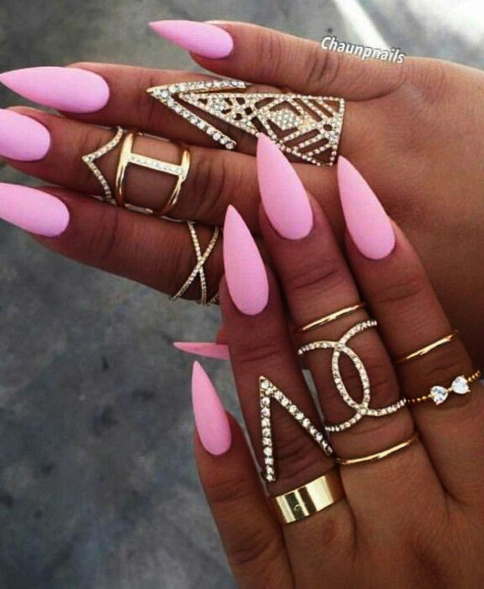 Home Blend Of Bites Pointed Nails Sharp Nails Pink Nails