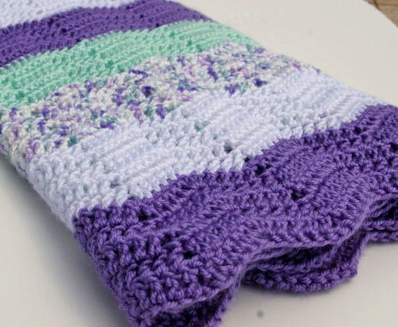 Baby Afghan Blanket In Lavender Mint And White Mint