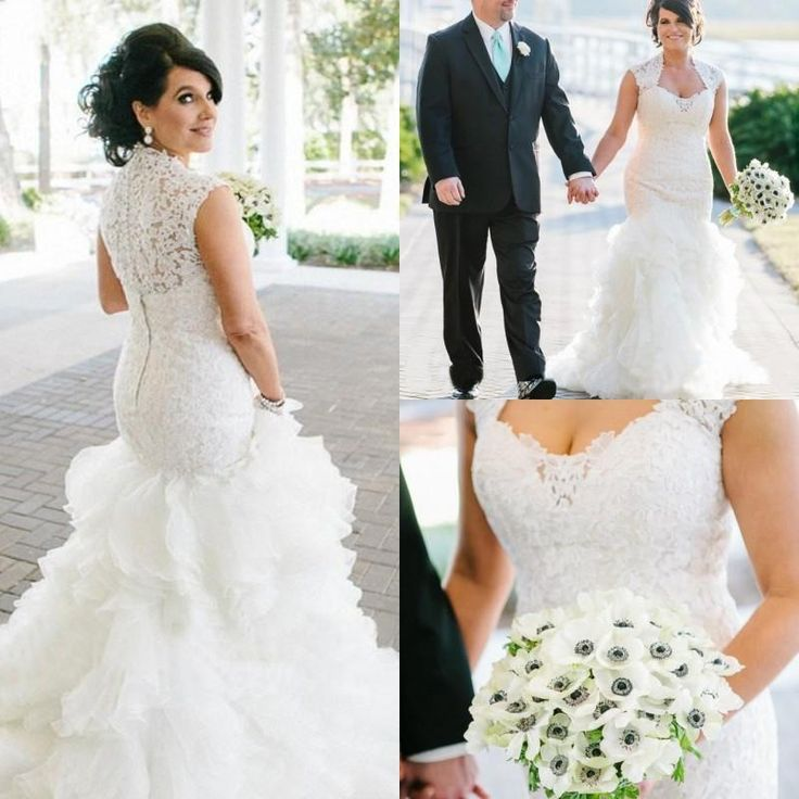Lace Plus Size Wedding Dresses Cap Sleeve Button Covered Back Casamento Ruffle Tiers Orgaza Skirt Modest Mermaid Cheap Vestido De Noiva Online with $146.6/Piece on Nameilishawedding's Store | DHgate.com