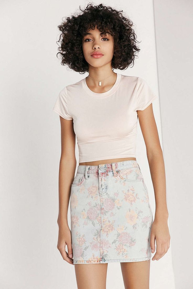 BDG Floral Print Denim Mini Skirt - Urban Outfitters