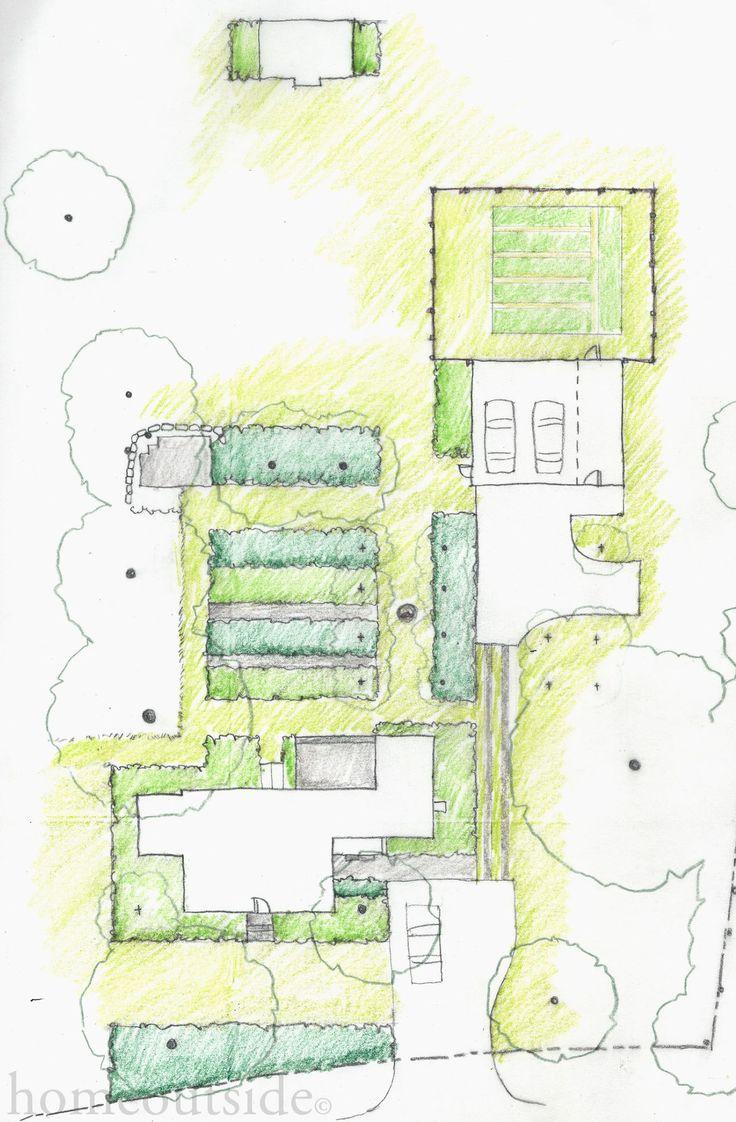 """Minimalist Bands"" Concept organizes paths and lush perennial borders. Online Landscape Design Service: homeoutsidedesign.com"