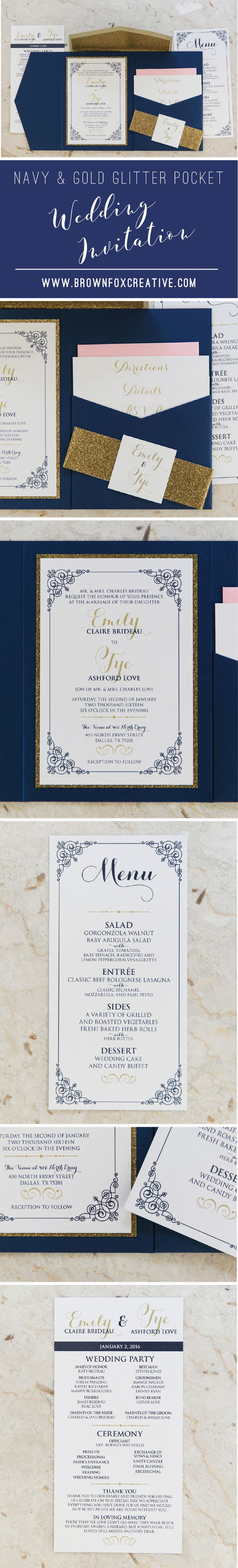 Gold color cardstock paper 5x7 - 5x7 Navy Blue Gold Glitter Blush Pocket Wedding Invitation With Enclosure Band Monogram