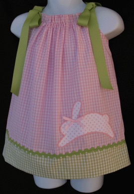 pink & green gingham dress with polka dot bunny