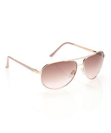 Look at this #zulilyfind! Rose Gold & Pink Aviator Sunglasses #zulilyfinds