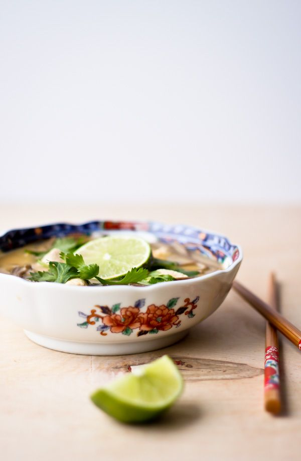 Thai Coconut Chicken Noodle Soup. Comforting, easy, and HEALTHY soup recipe!