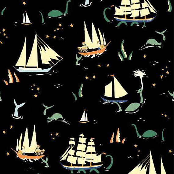 Here Be Monsters, Organic Woven, Saltwater by Birch Fabrics, fabric by the yard, modern blender, orange fabric, organic fabric