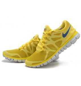 Bright Yellow Nike free men running shoes sale, with a deep green swoosh, these would be perfect for game day...