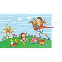 cute baby playing in park in background windmill and pin wheel is working vector kids illustration