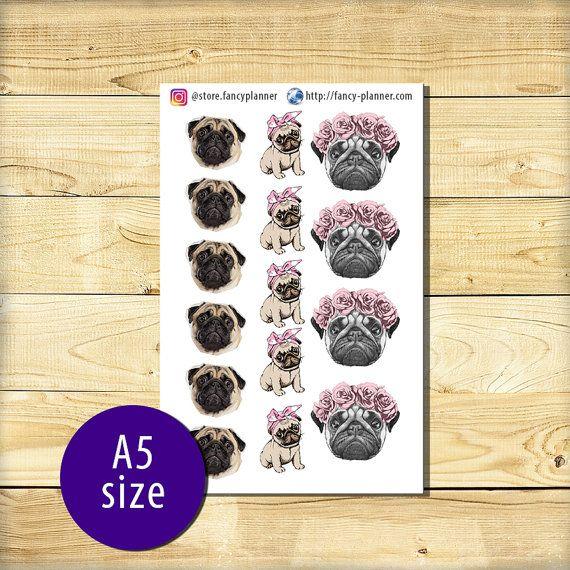A5-016 Pug cute stickers A5 binder planner от StoreFancyplanner