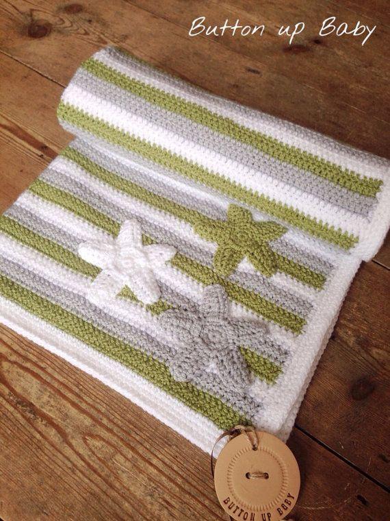 Stripey baby blanket with stars, cot blanket, pram blanket, baby boy blanket, crochet baby blanket, stripe bkanket, Stars and Stripes