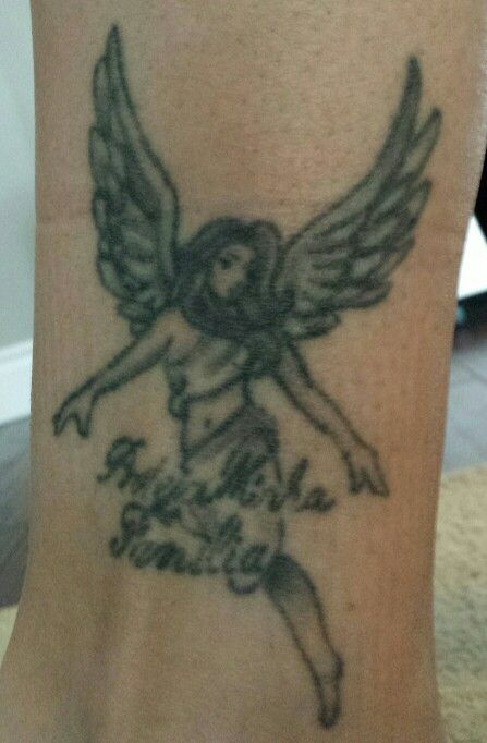 Angel ankle tattoo