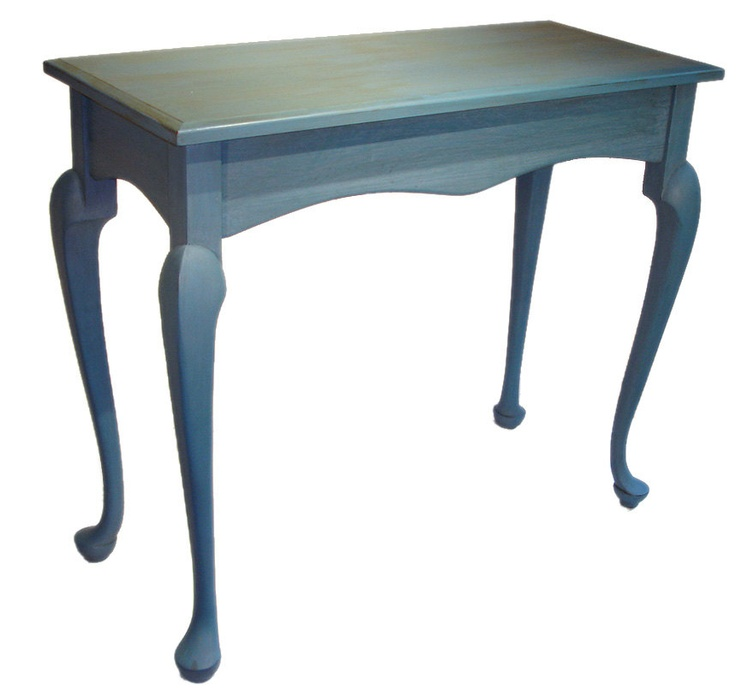 Superior Sky Blue Table, Queen Anne Legs, Hall Sofa Entry Accent , Solid Cherry,