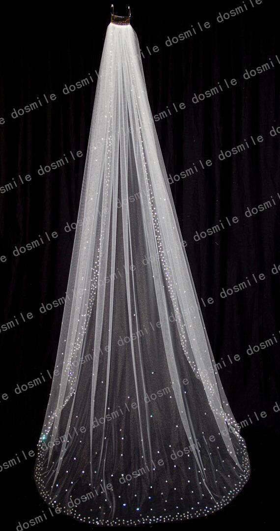 2015 Luxury Stunning 1 T Cathedral Crystal Blings Jewel Diamond Sparklings Edge White/Ivory Long Bridal Wedding Veil Free Comb-in Bridal Veils from Weddings & Events on Aliexpress.com | Alibaba Group