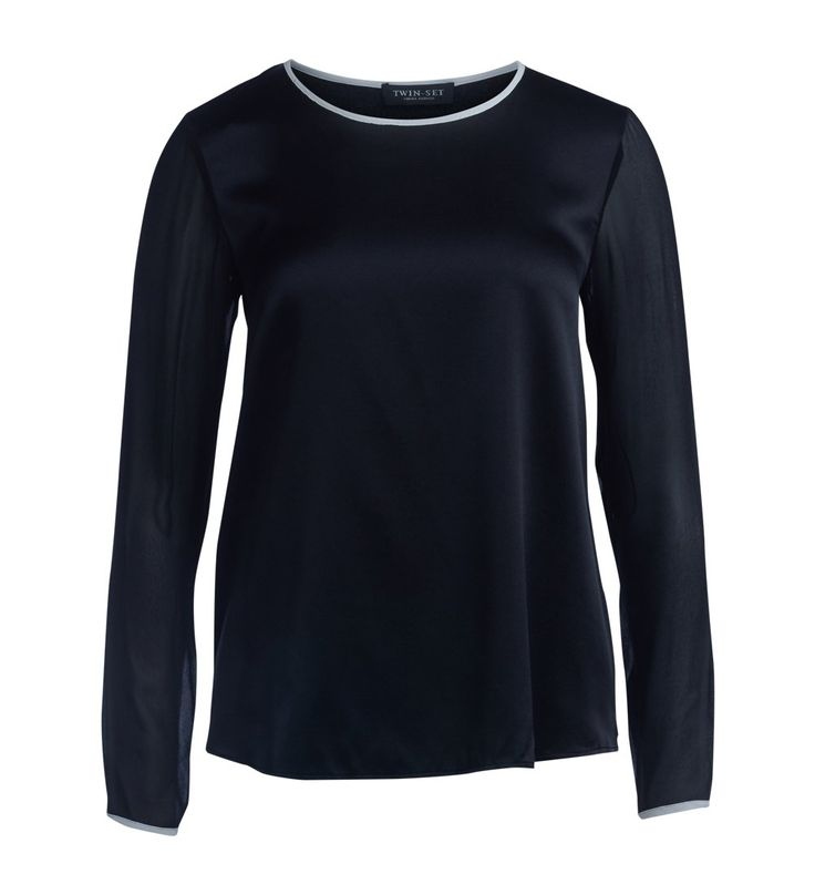 Twin-set Women's Blusa Twinset In Raso Di Seta Nera XS(INT)-XS(US) Black -- Awesome products selected by Anna Churchill