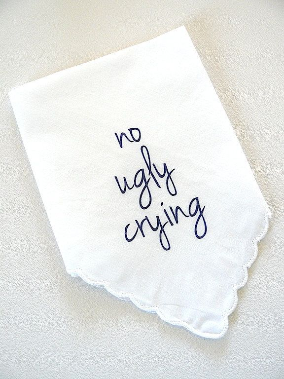 NAVY- no ugly crying White Scalloped edge handkerchiefs bridesmaid best friend mother of groom hipster wedding Ready-to-Ship by janetmorrin on Etsy