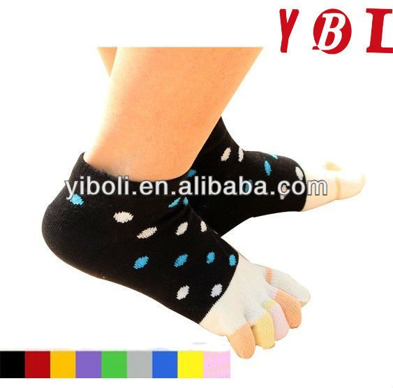Wholesal Women's ankle knitting toe socks Ankle toe sock buy toe socks from China