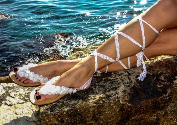 ♥ Luxurious Greek genuine leather sandals decorated with white fabric flowers, pearls and white knee high lace.  #danishandmadewedding