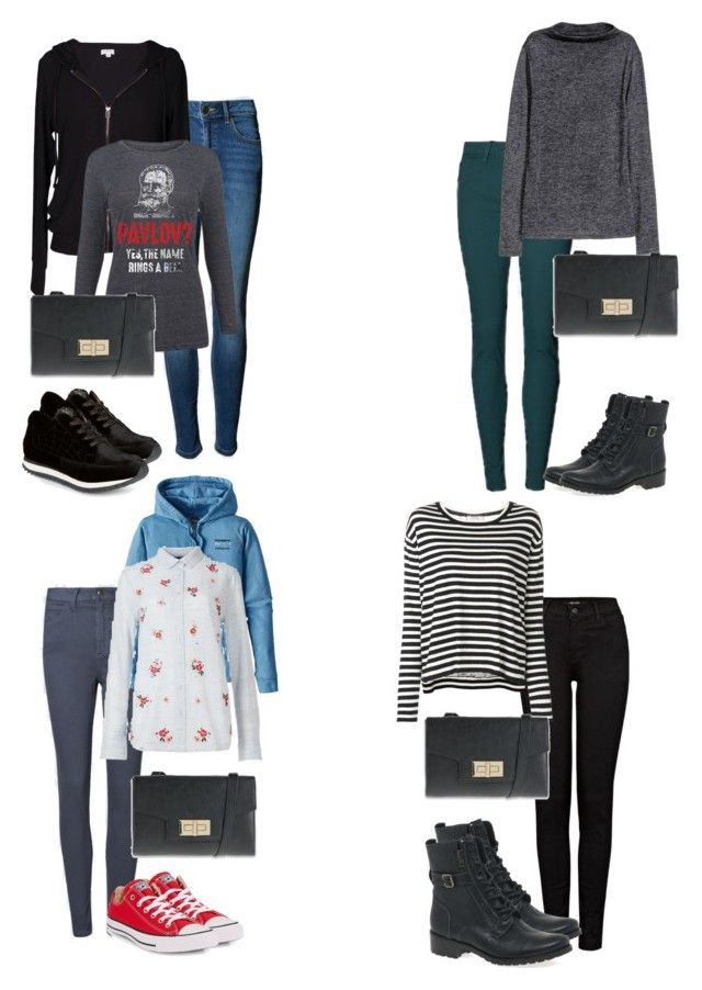"""""""4 outfits for winter city break"""" by amooshadow on Polyvore featuring J Brand, Patagonia, Marks & Spencer, Converse, Dorothee Schumacher, Velvet by Graham & Spencer, LC Trendz and Charlotte Olympia"""