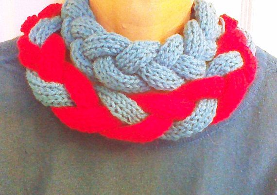 Red blue Hand Knitted braided cable Necklace by HandmadeTrend, $35.00