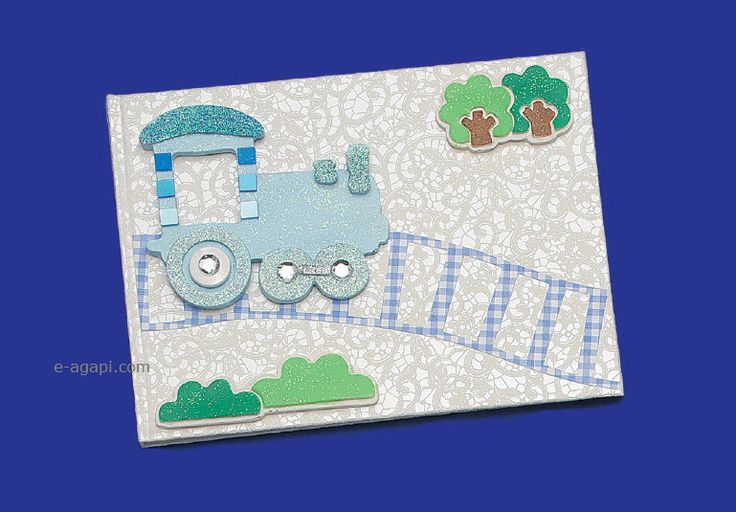 Train baby boy baptism guests book * Handmade baby first book * Collage album * Christening guests book baby boy album Baptism gift by eAGAPIcom on Etsy