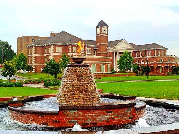 Humanities Building And Eternal Flame, Lee University: Cleveland, Tennessee