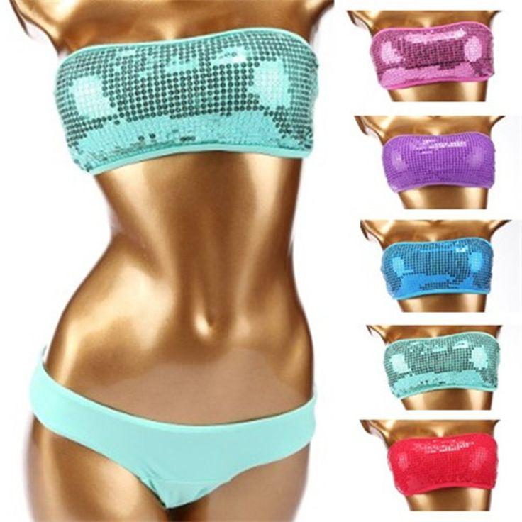 Summer bandeau swimwear bikini outdoor beach wear vintage sequined swimsuit set top & bottom costumi da bagno donna women bikini